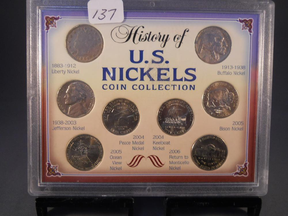 History of US Nickel Coin Collection 8 Coins