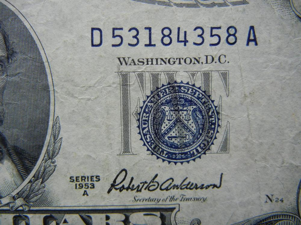 dollar certificate silver 1953 five lot