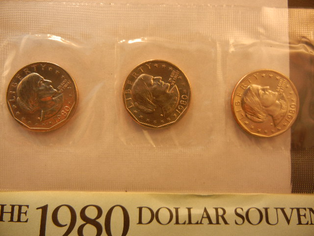1979 & 1980 Susan B  Anthony Souvenir Sets  Six Coins BU  P/D/S
