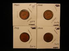 Four Canadian Small Cents 1920, 1940, 1943, 1944