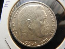 1936 E Germany 5 Reichsmark.  Silver Coin.  Almost Uncirculated.
