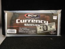 100 NIP BCW Currency Sleeves - 100 Sleeves - 2 Mil Thickness - Hold Reg. US Notes