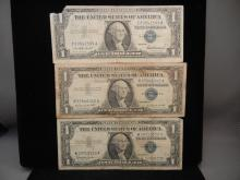 3 - 1957 One Dollar Silver Certificates