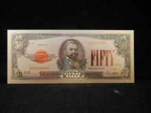 1928 Series Fifty Dollar 24kt Gold Plated Novelty Note Not Legal Tender