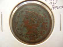 1851 Large Cent High Grade Partial Hole on Reverse