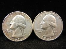 1962-P & D Washington Quarters - 90% Silver