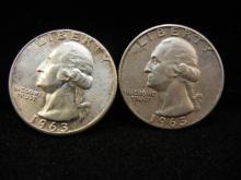 (2) 1963 Washington Quarters - 90% Silver