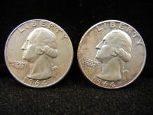 (2) 1964 Washington Quarters - 90% Silver