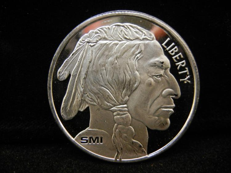 Smi One Troy Ounce 999 Fine Silver Indian Head Buffalo Roun