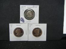 1979 S, 1980 S, 1981 S Susan B Anthony Three Coin Proof Set
