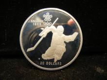 1988 Royal Canadian Mint Winter Olympic Games 92.8 % Silver 1 Troy Ounce Hockey Proof $20 Coin