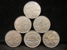 6 - Canadian Nickels 1936, 1937,1934, 1931, 1933