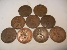 9 - Great Brittan Pennies 1916,1918,1920,1914,1917,1919,1912,1913,1911 Some Environmentally Damaged