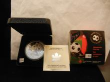 2006 Fifa World Cup Germany .9999 Fine Silver , Comm. Five Dollar, Canada R.C.M.