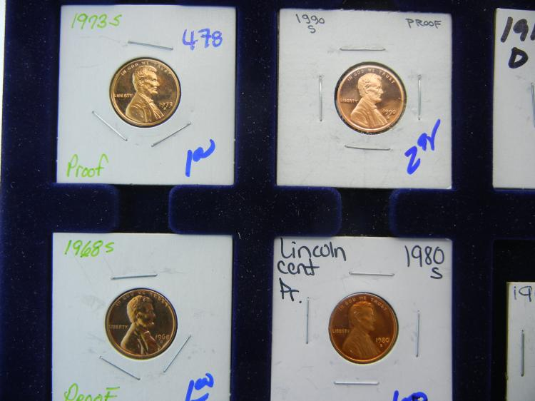 PROOF MEMORIAL PENNY LOT AND CIRCULATED WHEAT PENNIES