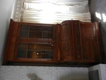 Walnut 2 Piece Bookcase Secretary w/ Roll Top Lid - Crack in One Glass Panel  - BUYER MUST ARRANGE SHIPPING
