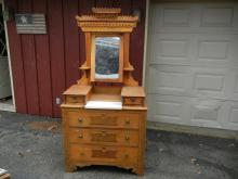 Maple East Lake Dresser w/ Hanky Boxes and Marble Top - BUYER MUST ARRANGE SHIPPING