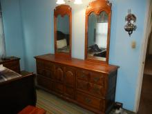 Wood Dresser w/ Vanity Mirror, Dresser, Night Stand - BUYER MUST ARRANGE SHIPPING