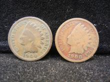 (2) 1900 Indian Head Cents