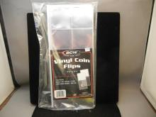100 New in Package Vinyl Coin Flips - w/Acid Free Paper 1- 7/8