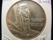 1969 Neil Armstrong Silver Medal.  Moon Landing.  Historic.