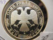 1997 Russia Silver Rouble.  PROOF.