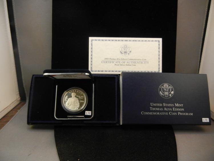 "2004-P PROOF /""Edison/"" Commemorative Dollar Free Shipping! 90/% Silver"