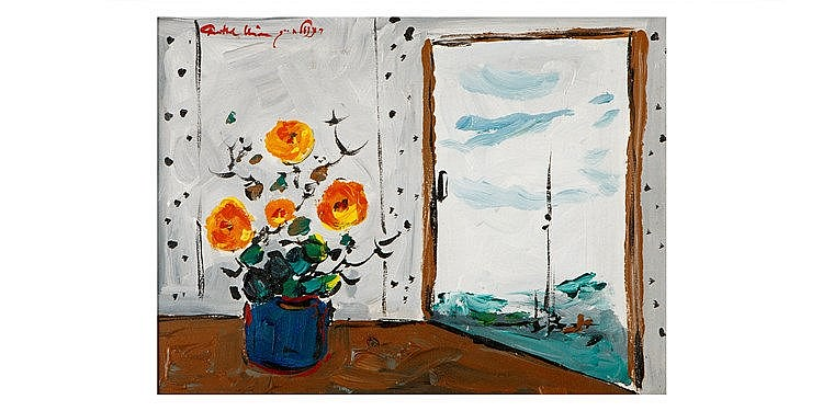 Chaim Rosenthal - 'Vase of Buttercups by the Window'