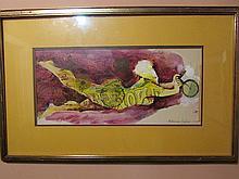Eduardo Paolozzi-collage watercolor (1924-2005) (20x9in.)