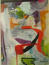 Grace Hartigan (American, 1922–2008)-A Oil Abstract Painting. Signed.