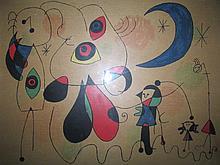 Joan Miró (1893-1983) Lithograph (Women, Moon, Birds)