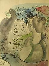 Marc Chagall (French/Russian, 1887–1985) Watercolor- Two Faces & Horse
