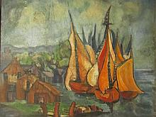 Attributed Charles Camoin (French, 1879–1965)- A Town On The Water And Sailboats