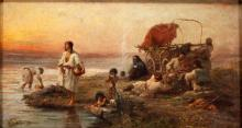 Paul Philippoteaux (French 1846-1923) Oil on Canvas Gypsy Encampment