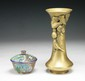 Two Bronze Vase & Cloisonne Bowl With Cover