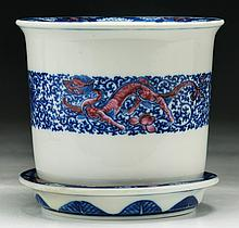 A Chinese Blue & White Porcelain Planter