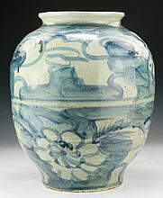 A Big Chinese Antique Blue & White Porcelain Vase