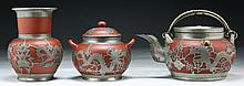 Three (3) Chinese Yixing Zisha Teapot & Vases