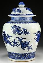 A Massive Chinese Antique Blue & White Porcelain Jar With Cover