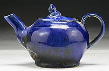 A Chinese Antique Blue Glazed Porcelain Teapot