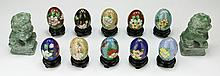 Twelve (12) Chinese Cloisonne Eggs & Stone Carved Lions