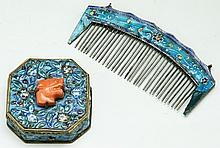 Two (2) Chinese Antique Cloisonne Comb & Box