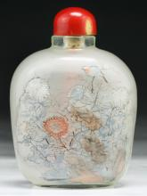 A BIG CHINESE INSIDE PAINTED GLASS SNUFF BOTTLE