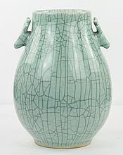 A Chinese Antique Celadon Glazed Zun Porcelain Vase