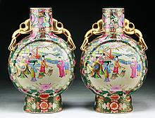 Pair of Chinese Antique Rose Medallion Porcelain Moon Flasks