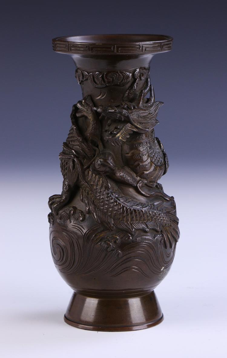 A japanese antique iron cast vase for Asian antiques uk