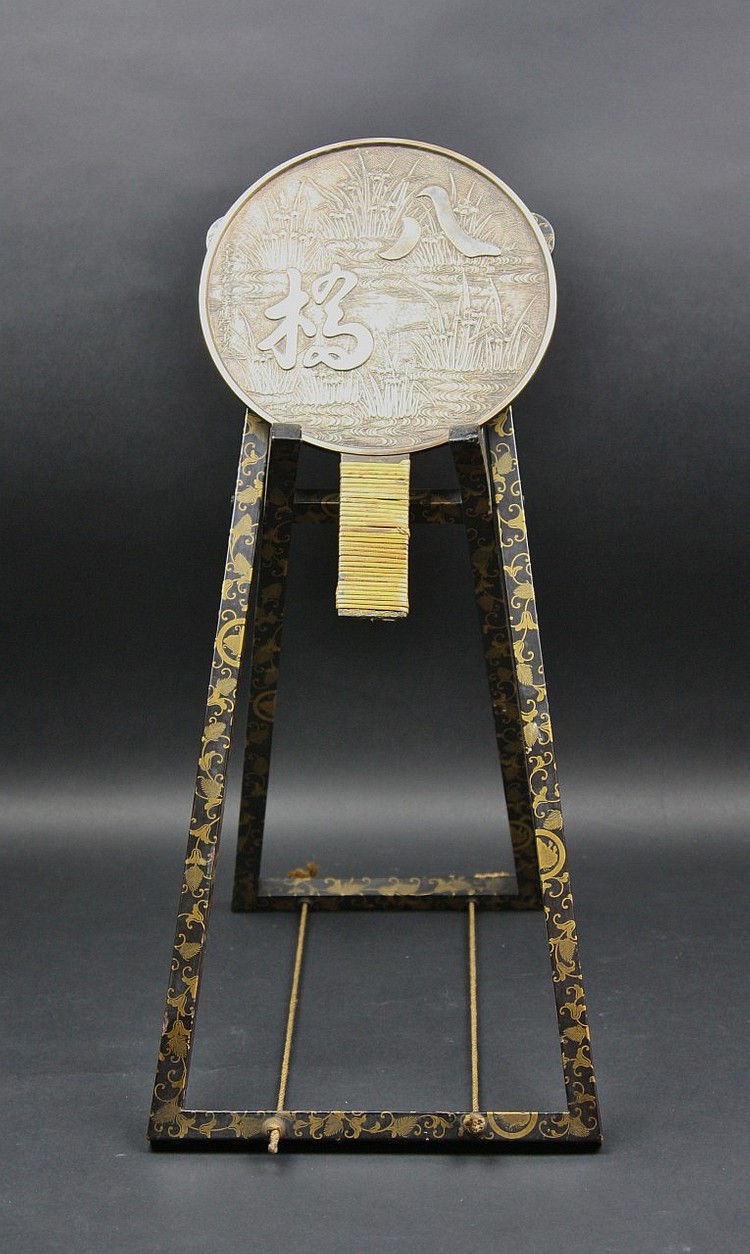 Japanese Antique Mirror&Gilt Black Lacquer Stand