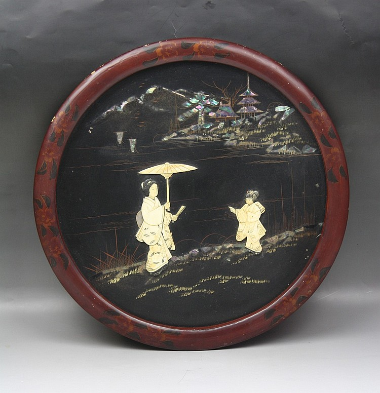 Antique Japanese Inset Wood Wall Picture