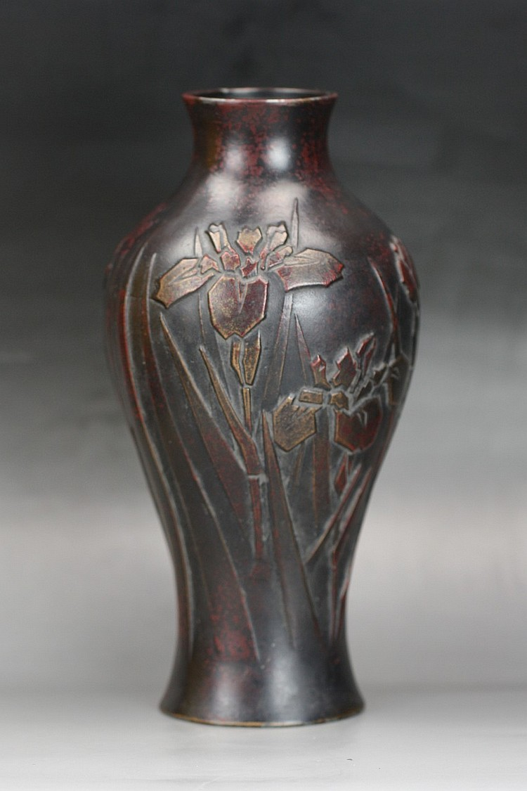 A Japanese Antique Carved Bronze Vase