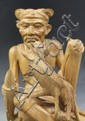 Delicate Balinese Hand-Carved Wood Farmer
